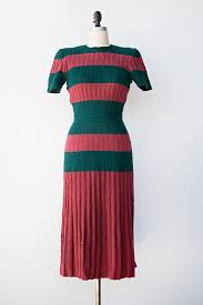 vintage 1930s 1940s red green striped knit dress vintage clothes