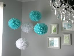 aqua u0026 white tissue paper poms wedding reception decor