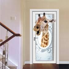 online get cheap giraffe wall decor aliexpress com alibaba group funlife imitation 3d giraffe door sticker self adhesive wall decor for living room bedroom pvc waterproof wall stickers