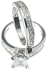 cheap engagement rings princess cut princess cut white cz wedding band engagement ring set