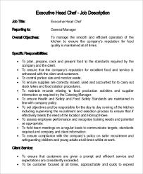 chef job description sample resume job