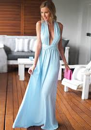 sexi maxi dress light blue plain belt cross back v neck maxi dress maxi dresses