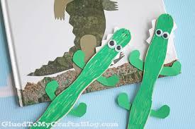 popsicle stick crocodile kid craft glued to my crafts