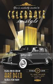 art deco style vintage poster invitation party classic car