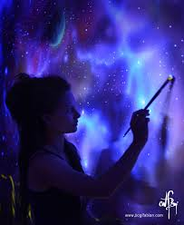 artist paints rooms with murals that glow under blacklight glowing murals uv blacklight art bogi fabian 20