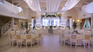 video interior a wedding hall decoration ready for guests
