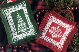 festive mini pillow ornament cross stitch epattern