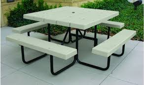 Picnic Table With Benches Barcoboard Square Picnic Table Barco Products