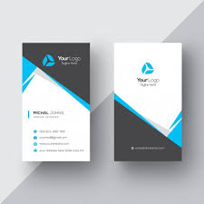 business card black and white business card with blue details vector free