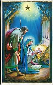 vintage greeting card holy rosary family