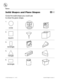 solid shapes and plane shapes 2nd grade worksheet lesson planet
