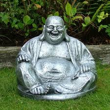 silver laughing buddha statue sculpture garden ornament s s shop