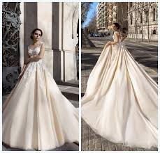 cheap tulle exquisite sheer lace wedding dresses chagne applique crew neck