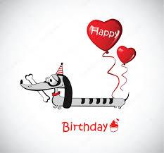 happy birthday card dog dachshund u2014 stock vector novkota1 16203193