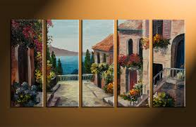 Home Decor Paintings by 5 Piece Colorful Canvas Ocean City Oil Paintings Decor