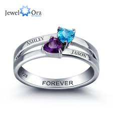 online get cheap personalized engraved rings couple aliexpress personalized engrave birthstone couple heart sterling silver cubic zirconina classic ring free gift box