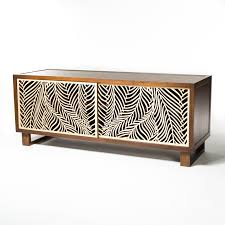 Design Your Own Coffee Table Beautiful Credenza Featuring Intricate Wispy Palm Laser Cut Door