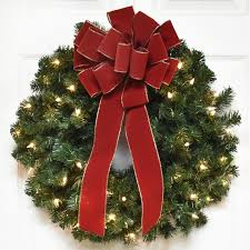 battery operated lighted christmas bows the holiday aisle pre lit 24 christmas wreath with red velvet bow