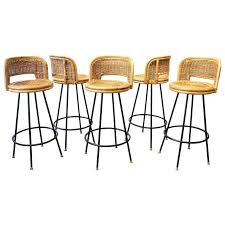 Wrought Iron Bar Stool Set Of Pristine Rattan And Wrought Iron Bar Stools By Seng Of