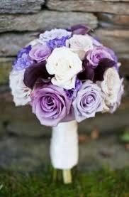 Violet Wedding Flowers - purple wedding bridal bouquet of roses lisianthus moon series