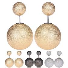 sided stud earrings 2017 sided pearl earrings stud new design mat surface