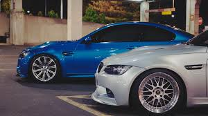 Bmw M3 Blue - bmw m3 blue white coupe sports car on the side hd wallpaper