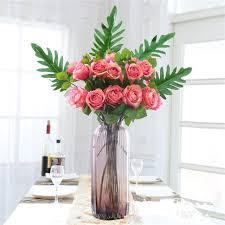 cheap artificial flowers online shop 1pc large artificial palm leaf green plants flores