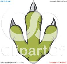 clipart of a green raptor dinosaur foot print with sharp nails