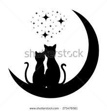 cats on moon loving dreams stock vector 72052465