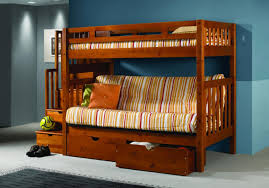 Futon Bunk Beds With Mattress Solid Wood Staircase Futon Bunk Bed W Storage