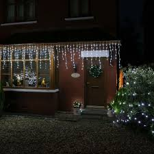 drop led icicle lights connectable white cable