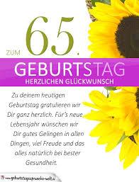 geburtstagssprüche 65 schlichte geburtstagskarte mit sonnenblumen zum 65 geburtstag