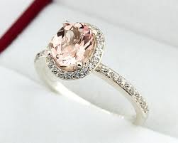 morganite ring gold 1 10 ct 8x6 mm oval morganite solid 14k white gold diamond