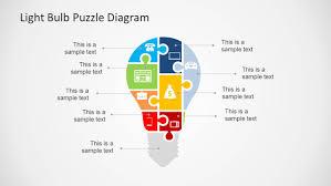 light bulb puzzle diagram template for powerpoint slidemodel