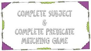 complete subject and predicate matching game by small town miss browne