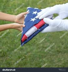 Fold Flag Military Style Closeup Hands Hold American Flag Carefully Stock Photo 218474143