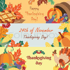 set of happy thanksgiving greeting banners with symbols of