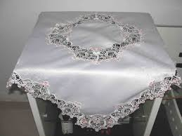 pale pink table cover beautiful montiton machine embroidery satin with lace tablecloth in
