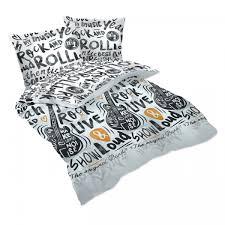 rock and roll 100 cotton bed linen set duvet cover u0026 pillow