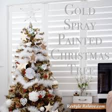 Gold White Christmas Tree Gold Spray Painted Christmas Tree