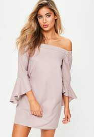 shift dress pink bardot ruffle sleeve shift dress missguided