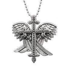 wings and cross necklace badass bazaar