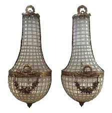 Crystal Wall Sconces French Basket Style Crystal Wall Sconces A Pair Chairish