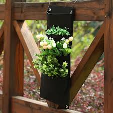 4 pockets indoor outdoor wall balcony hanging planter bag wall