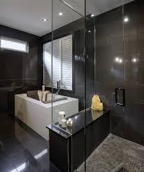 porcelanosa ferroker tile bathroom modern with dark floor