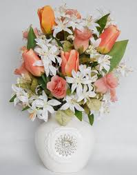 silk flower arrangement coral tulips coral rosebuds white tiger