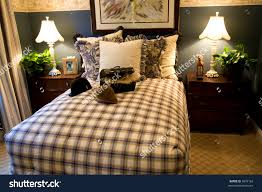 bedroom glamorous country style bedroom quilted bed cover stock