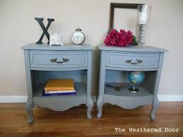 pair of grey nightstands the weathered door