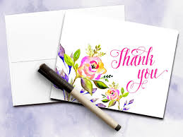 thank you card watercolor card modern calligraphy floral