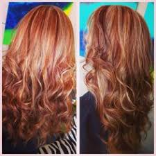 natural red hair with highlights and lowlights copper hair with blonde highlight and red lowlights on a natural red